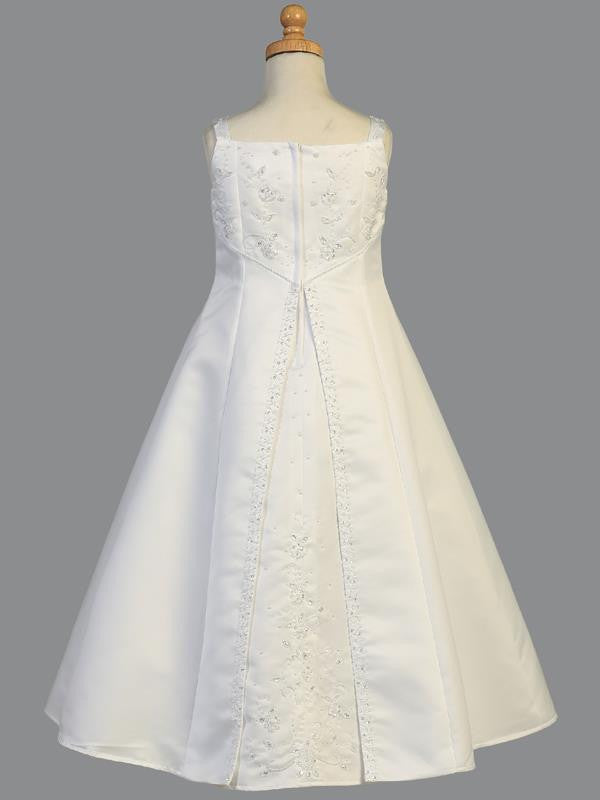 Embroidered a Line Satin Communion Dress