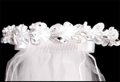 Satin Flower First Communion Veil with Rhinestone Pearl Accents T-63