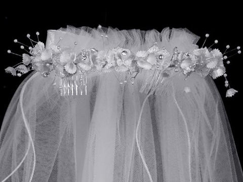 Satin Flowers and Rhinestone Accents Crown with Veil T-23
