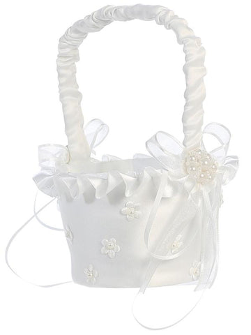 Satin Trim with Pearlized Satin Flowers Flower Girl Basket   LT-FB11