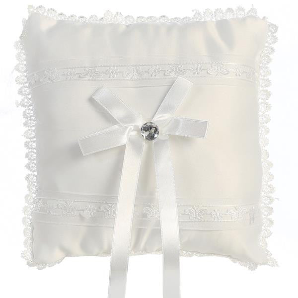 Satin with Lace Trim Ringbearers Pillow   LT-RP305