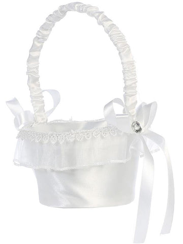 Satin with Organza Trim Flower Girl Basket   LT-FB10