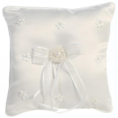 Satin with Pearled Flowers Ringbearers Pillow   LT-RP304