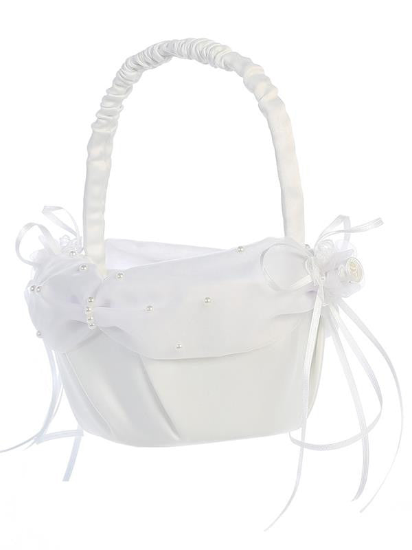 Satin with Pearlized Organza Trim Flower Girl Basket   LT-FB7