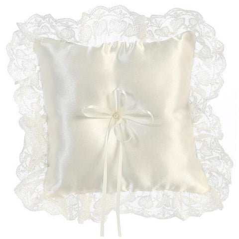 Satin with Wide Lace Trim Ringbearers Pillow  LT-RP302