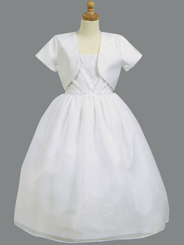 Shantung & Organza Communion Dress with Bolero LT-SP962