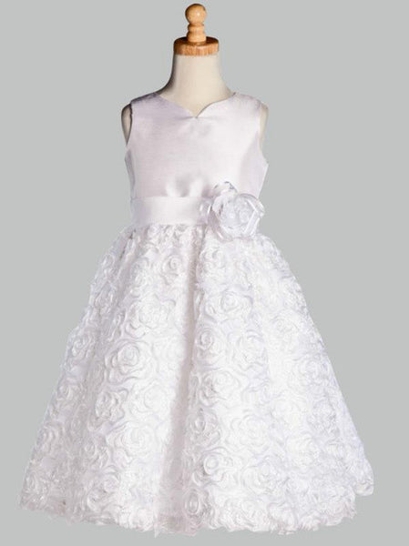 Shantung Silk First Communion Dress with Ribbon Skirt LT-SP123