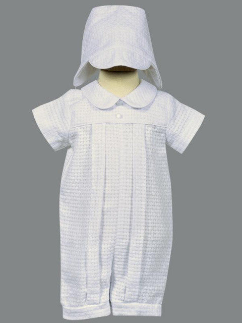 Sherwin Baby/Toddler Boys White Poly-Cotton Basketweave Romper