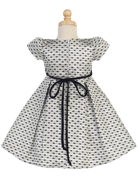 Silver Jacquard Holiday Dress with Bows Design  C-990S - back