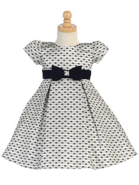 Silver Jacquard Holiday Dress with Bows Design  C-990S
