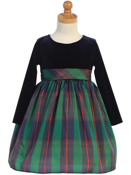 Stretch Blue Velvet & Green Plaid Long Sleeve Holiday Dress - C534-G