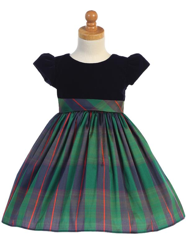 Stretch Blue Velvet & Green Plaid Short Sleeve Holiday Dress - C535-G