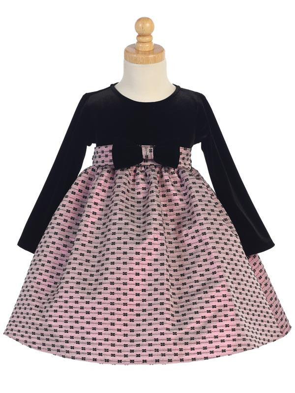Stretch Velvet & Pink Jacquard Holiday Dress with Bows Design  C-991P