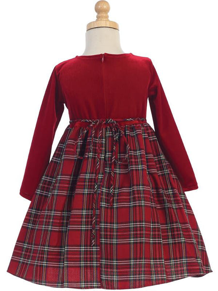 Stretch Velvet & Red Plaid Long Sleeve Holiday Dress - C503