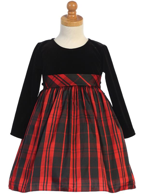 Stretch Velvet & Red Plaid Long Sleeve Holiday Dress - C534-R