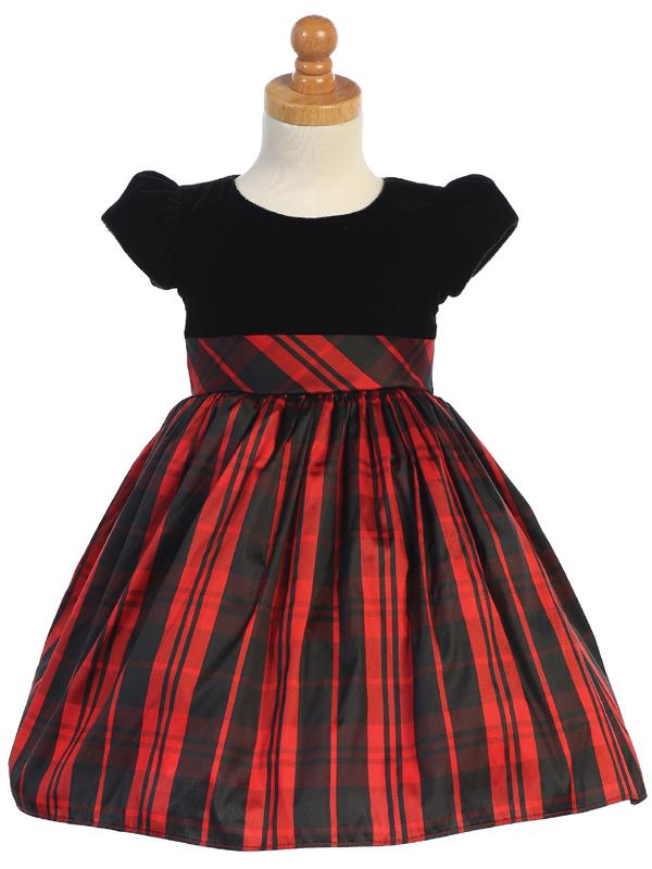 Stretch Velvet & Red Plaid Short Sleeve Holiday Dress - C535-R
