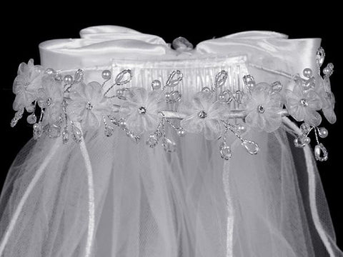 Veil with Organza Flowers with Crystals and Pearls T-11