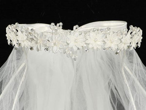 First Communion Veil with Satin Flowers and Pearls T-22