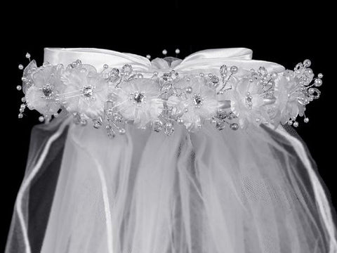 Veil with Organza Flowers with Rhinestone and Pearl Accents T-24