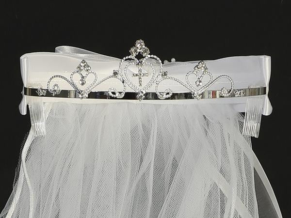 First Communion Tiara with Hearts and Rhinestone Cross  T-65