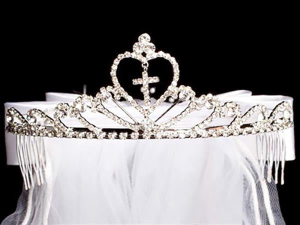 Heart Tiara with Rhinestone Cross and White Veil T-82