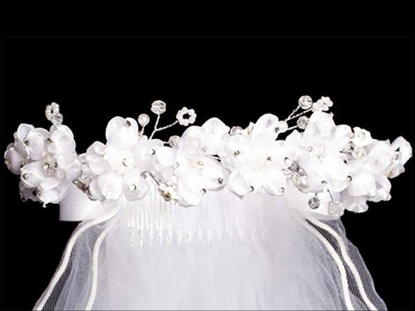 Veil with Organza Flowers and Rhinestones T-85