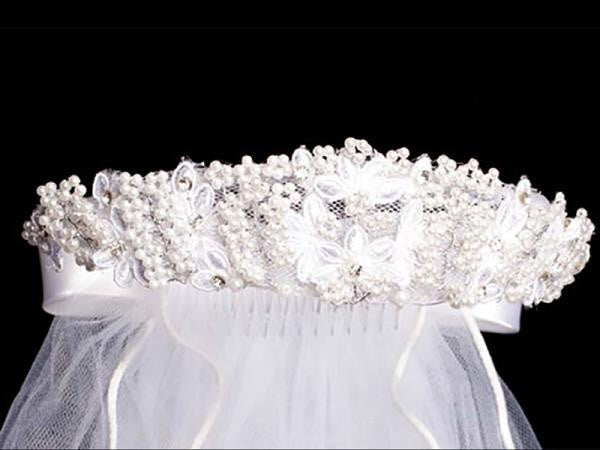 Beaded Floral and Rhinestones First Communion Veil  T-93