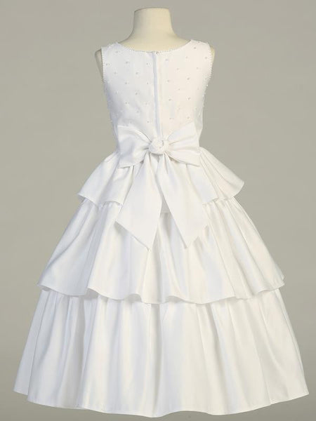Tea Length Pearl Accent Dress with Back Ruffled Skirts LT-SP853