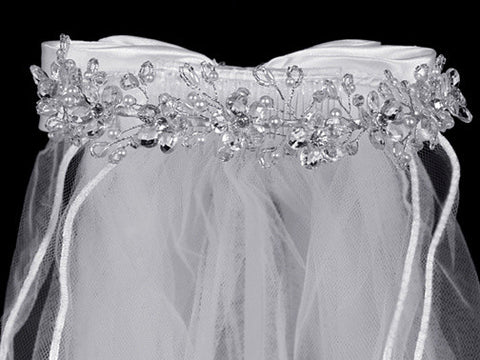 Veil with Crystal Flowers and Rhinestone Accents T-29