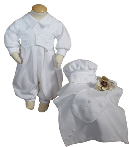 Boys White Long Sleeve Cotton Interlock Preemie Christening 4pc Set