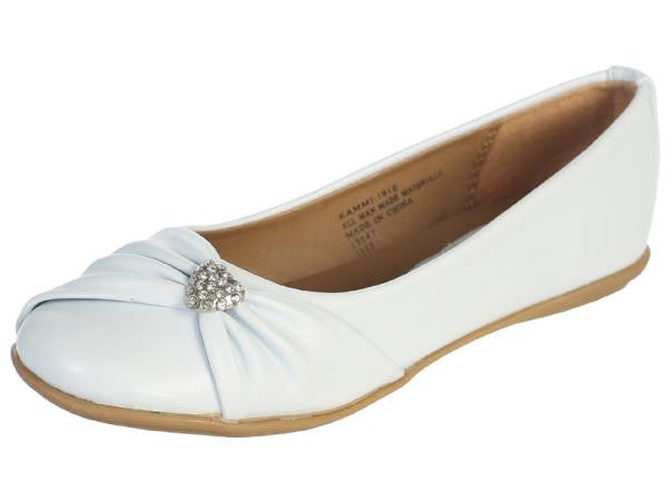 Wendy Girls Flat Shoe with Rhinestone Heart-white side view