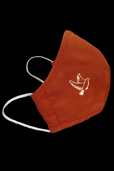Red Confirmation Cotton Face Mask w/ White Dove - Adult