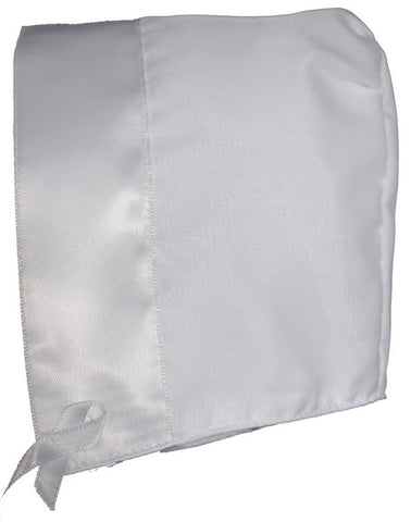White Organza Overlay Poly Cotton Handmade Bonnet with Satin Trim LTMAL-ORBON1