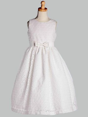 White Eyelet Cotton First Communion Dress - Lito SP120