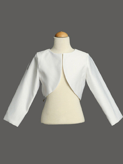 White Long Sleeve Satin Bolero