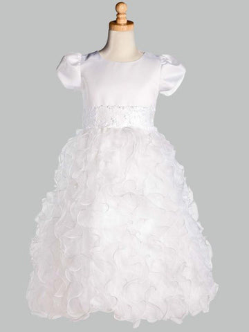 White Organza Ruffle Skirt First Communion Dress Lito SP128