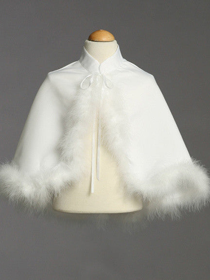 White Satin Cape With Marabou Trim