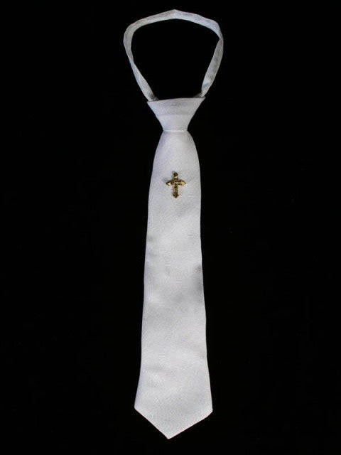 White Zipper Tie with Gold Cross