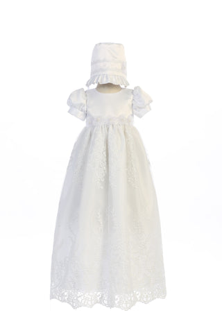 Willow Embroidered Tulle Long Christening Gown and Bonnet