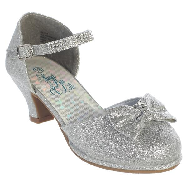 Bella Girls Rhinestone Strap Heel Shoe with Bow