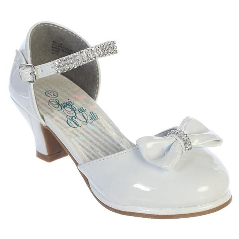 Bella Girls Rhinestone Strap Heel Shoe with Bow-white