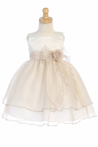 Ivory & Champagne Satin Bodice Flower Girl Dress w/ Crystal Organza Skirt - BL244-IV-CH
