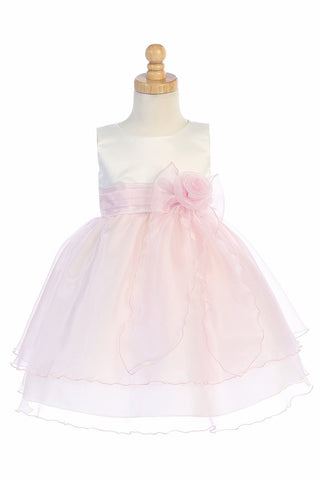 Ivory & Pink Satin Bodice Flower Girl Dress w/ Crystal Organza Skirt - BL244-IV-PNK