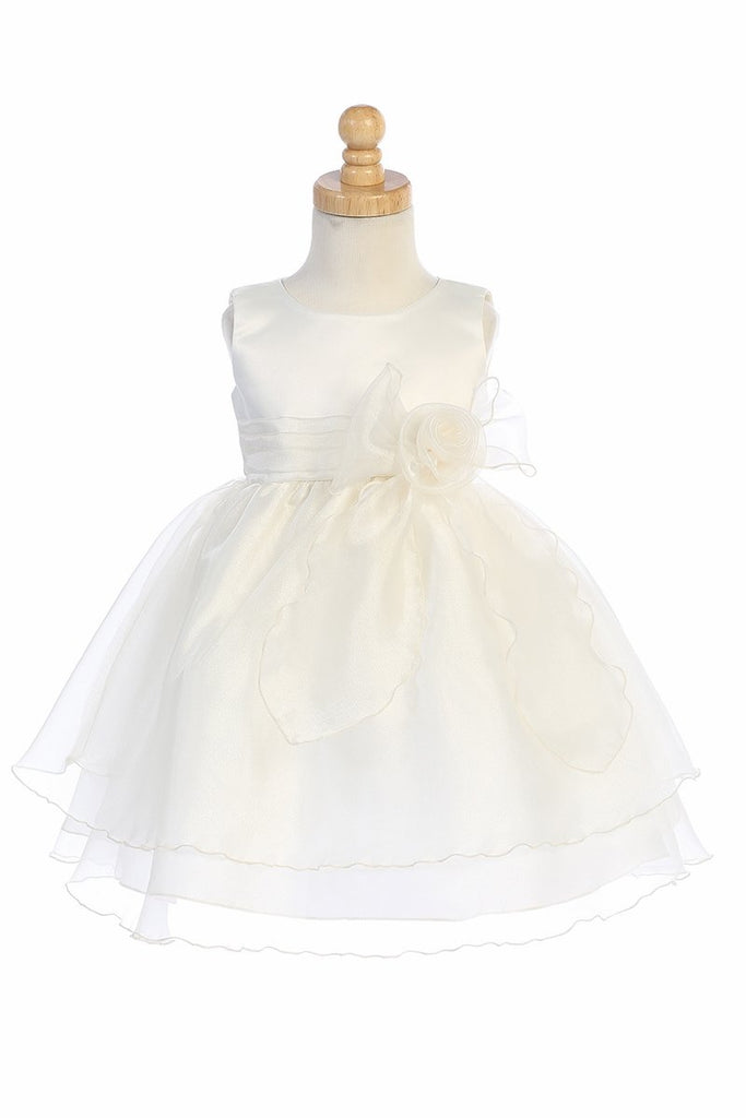 Ivory Satin Bodice Flower Girl Dress w/ Crystal Organza Skirt - BL244-IV