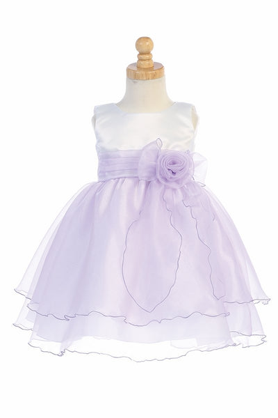 White & Lilac Satin Bodice Flower Girl Dress w/ Crystal Organza Skirt - BL244-WH-LIL