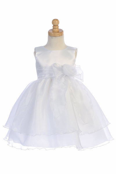 White Satin Bodice Flower Girl Dress w/ Crystal Organza Skirt - BL244-WHITE