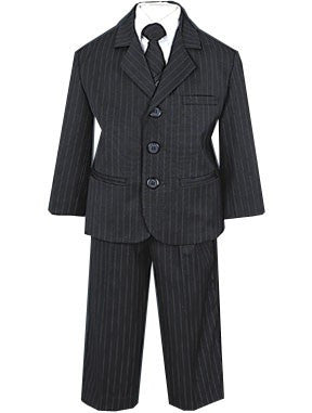 Boy's Black Pinstripe 5 Piece Suit Sizes 5 to 7