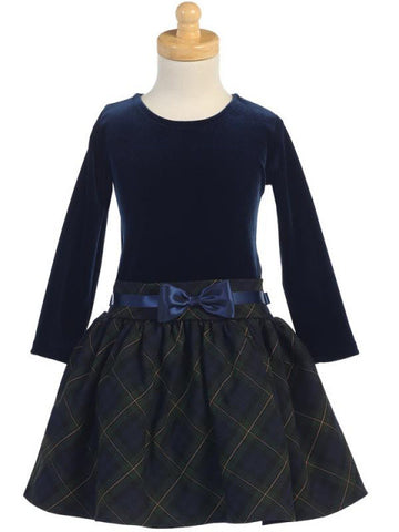 Girls Blue Velvet Holiday Dress with Blue and Green Plaid Skirt