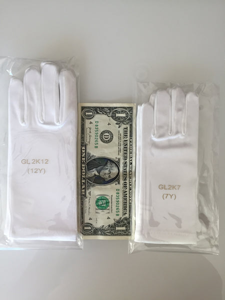 Girl's Short Satin Gloves - sizing help