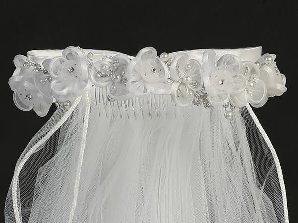 Organza Flower Veil with Rhinestone & Pearl Accents T-66